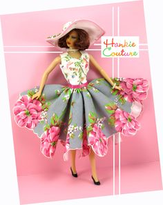"""She is ready for a picnic in this scalloped dress to fit 11 1/2"""" Barbie, my custom designed Hankie Couture doll, and similar sized dolls! #Hankiecouture #doll #hankie #hanky"""