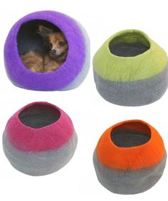 Lollycadoodle felted cat caves are 100% wool and handmade by artisans in Kathmandu in a Fair Trade Facility.