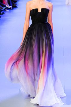 From Elie Saab - Spring Summer 2014. This dress is amazing and stunning. I love how the colors flow into each other. ^
