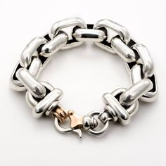 A sterling silver bracelet with three Italian-made sterling silver hearts that are separated by lengths of sterling round-link chain. The hearts are about juicy looking and, when united with the chain, present the piece a subtle exterior. Chunky Chain Necklaces, Silver Chain Necklace, Silver Necklaces, Sterling Silver Bracelets, Silver Jewelry, Silver Ring, Silver Work, Silver Earrings, Gold Jewellery
