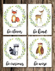 Woodland Animal Nursery Decor | Fox Deer Raccoon Owl | Woodland Creatures | Be Brave Be Kind Be Curious Be Wise |