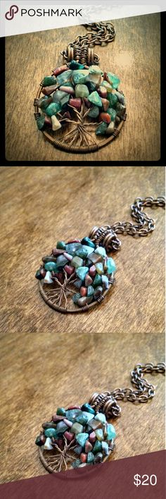 """Handmade Tree of Life boho hippie necklace This necklace is handmade by me using stone chips & copper wire that I aged with liver of sulphur. Chain is approx. 18"""". Any questions, just ask! Handmade Jewelry Necklaces"""
