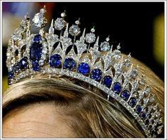 Melleria Sapphire tiara as worn by Queen Maxima of the Netherland on 4/30/2013. photo credit to SalmaTRF with permission