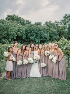 This bride and her bridesmaids are absolutely stunning in their gowns from The Blushing Bride Boutique captured by Tracy Enoch Photography! #bridesofnorthtx #weddings #bridesmaids