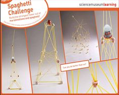 spaghetti and marshmallow challenge...The task is simple: in eighteen minutes, teams must build the tallest free-standing structure out of 20 sticks of spaghetti, one yard of tape, one yard of string, and one marshmallow. The marshmallow needs to be on top.