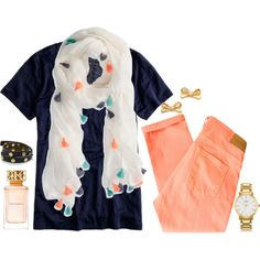 Spring peach and navy, created by the-southern-prep on Polyvore