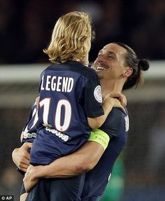 Paris Saint-Germain 4-0 Nantes: Zlatan Ibrahimovic bows out in record-breaking style with two goals in his final game... after the match was stopped on 10 minutes for fans to cheer the striker | Daily Mail Online