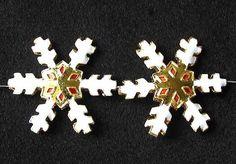 TWO GOLDEN CLOISONNE Snowflake CENTERPIECE Beads 8638H - Premium Bead
