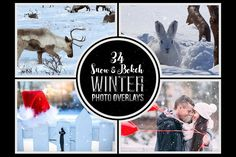 34 Winter Snow and Bokeh Photo Overlays from DesignBundles.net