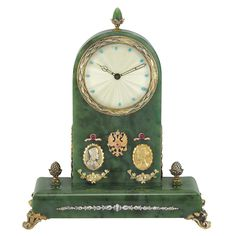 Russian Nephrite, Silver, Silver-Gilt And Ruby  Desk Clock, Unsigned, With Russian Assay Mark  - Doyle New York