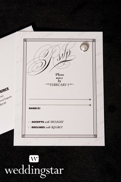 """""""Parisian Love Letter"""" RSVP from our Parisian: Black and White Lookbook! {wedding stationery, RSVP, #wedding, invitation, love letter, romantic, French, monochromatic}"""