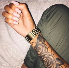 Tattoo girl hot rose sleeve ideas for 2019 Dope Tattoos, Forarm Tattoos, Trendy Tattoos, Leg Tattoos, Body Art Tattoos, Tribal Tattoos, Small Tattoos, Tatoos, Tiny Tattoo