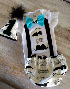 3 PC Boys Mustache Birthday Outfit                                                                                                                                                     More