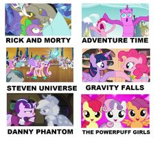 how are they getting this from these all i saw was the PPG, Adventure time and danny phantom My Little Pony Cartoon, My Little Pony Pictures, Cartoon As Anime, Cartoon Shows, Filles Equestria, Mlp Cutie Marks, My Little Pony Wallpaper, Imagenes My Little Pony, Sssniperwolf