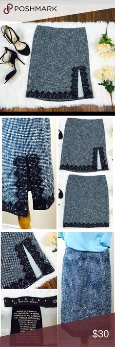 Laundry Blue Tweed Wool Lace Career Skirt Beautiful wool and lace tweed straight skirt by Shelli Segal. Perfect for professional settings. Blend of light blue, cream, and navy colors. Black lace on hem. Front slit on the left side. Hidden size zipper with hook and eye closure. Size 6. Good preowned condition. Has normal piling from use. Measurements coming soon. Laundry by Shelli Segal Skirts Midi