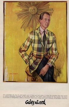 In the mid-1960s, six prominent socialites had their portraits painted by Henry Koehler. The garments were crafted using G&L fabrics. Ads appeared in the New York Times Feb 2, 1965. 60s mens sumer style. The madras jacket.