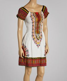 Loving this White Shirred Cap-Sleeve Tribal Dress on #zulily! #zulilyfinds