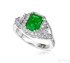 Ziva Emerald Cut Emerald Ring with Triangle Sides in Diamond Halos