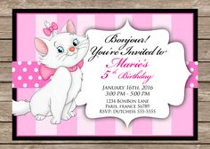 New to PrintzNThings on Etsy: French Pink Birthday Invitation Marie Aristocats Girl Birthday Party Invitation 5x7 Printable Instant Download Disney Paris France (4.99 USD)