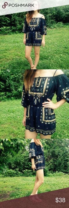 SALE THIS WEEKEND ⚡️ ✨NWTRetail Boho Romper Navy Blue with Tan and Light blue detailing. Gorgeous for summertime be paired with wedges or some cute sandals! 100% Rayon. Poema Dresses