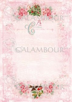Calambour paper, glossy, light with great adhesion. Pattern:  musical score, music, note, bells, roses,  butcher's broom, bird,  robin redbreast, tapes,  flakes and writing.