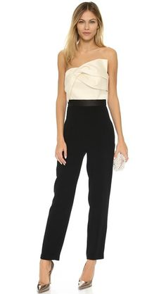 be79d8ea01f9 Cynthia Rowley Strapless Jumpsuit with Draped Bow Top Bow Tops