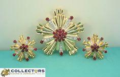 RARE Vintage Tiffany & Co 14K Gold Diamond Ruby Earrings Brooch Pin Flower Set #vintage #designer #tiffany #gold #diamond #ruby #earings