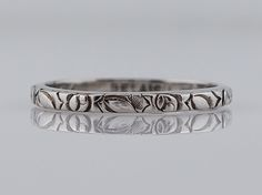 Filigree Jewelers :: Antique Wedding Band Art Deco Belais Brothers in 18k White Gold. Minneapolis, MN