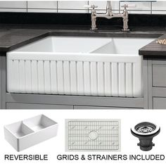 Empire Industries Sutton Place x White Double Offset Bow at Lowe's. Free grid and strainer! Our fine fireclay kitchen sinks are handcrafted in the old English tradition of solid casting, making them stronger than hollow Basin, Farmhouse Sink Kitchen, Kitchen Projects, Double Basin, Fireclay Sink, Floating Sink, Farmhouse Kitchen, Sink Grid, Farmhouse Aprons