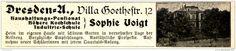 Original-Werbung/ Anzeige 1915 - SOPHIE VOIGT'S HÖHERE HAUSHALTSSCHULE DRESDEN - ca. 110 x 20 mm