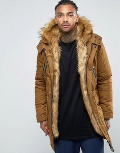 Sixth June Parka With Faux Fur Hood And Lining at ASOS. Shop this season's must haves with multiple delivery and return options (Ts&Cs apply). Blazer Vest, Sweater Jacket, Vest Jacket, Mens Winter Coat, Winter Jackets, Winter Coats, Fall Winter, Asos, Men Street