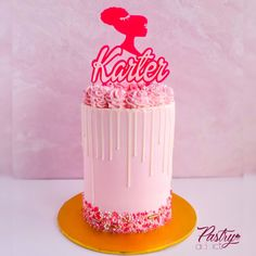 Simple Barbie themed birthday cake with a custom sprinkle blend. Call or email us to design your dream cake today! #barbiecake #barbiebirthdayparty #barbiepartyideas #girlbirthdaycake #barbiebirthdaycake #barbieideas #kidspartyideas #kidsbirthdaycake Barbie Birthday Cake, Themed Birthday Cakes, Birthday Cake Girls, Strawberry Buttercream, Chocolate Buttercream, Basic Cake, Cakes Today, Dream Cake, Specialty Cakes