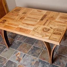 Wooden Wine Boxes & Wine Crates: The Top 11 Wine Crate Table Designs Wine Crate Table, Crate Bar, Wooden Wine Crates, Wooden Boxes, Barrel Furniture, Diy Furniture, Dining Table Legs, Dining Room, Home And Deco