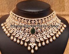 Jewellery Designs: CZ Embedded Bridal Necklace