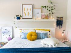 Bedroom Storage Shelves - Above the Bed Storage Bedroom Storage Shelves, Bed Shelves, Bed Storage, Shelving Above Bed, Storage Ideas, Shelf Ideas, Storage Organization, Bedside Lamps Design, Cozy Bedroom