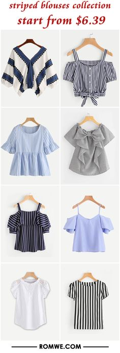 Shop online for the latest collection of PIN US Striped 20180312 E Find the best styles and deals at ROMWE right now! Girls Fashion Clothes, Teen Fashion Outfits, Cute Fashion, Girl Fashion, Girl Outfits, Casual Outfits, Fashion Dresses, Cute Outfits, Striped Blouses