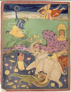 https://flic.kr/p/8nuvPg | The Salvation of the King of the Elephants | Accession Number: 1990:687 Display Title: The Salvation of the King of the Elephants Suite Name: Gajendra Moksha Media & Support: Opaque watercolor on paper Creation Date: ca. 1770 Creation Place/Subject: India State-Province: Rajasthan Court: Bundi School: Rajasthani Display Dimensions: 9 7/16 in. x 7 5/16 in. (24 cm x 18.6 cm) Credit Line: Edwin Binney 3rd Collection Label Copy: Gajendra, the King of the Elephants,...