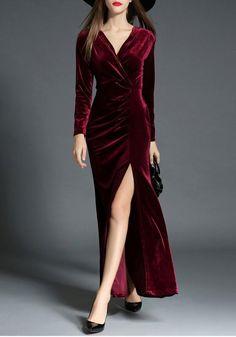 Zipper Side Slit Bodycon Fashion Maxi Dress 39f9c50593