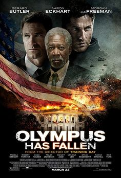 'Olympus Has Fallen' new movie poster featuring Gerard Butler, Aaron Eckhart & Morgan Freeman. Want to see. Film D'action, Bon Film, Film Serie, Gerard Butler, Great Movies, New Movies, Movies Online, Watch Movies, Netflix Movies Must See