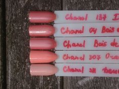 Comparison, u-d: Chanel 137 India, Chanel 04 Bois de Rose, Chanel Bois de Rose 04, Chanel 307 Orange Fizz, Chanel 211 Deuville