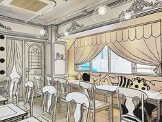 """The newly-opened pop-up coffee shop Cafe"""" in Tokyo, Japan is exactly what it sounds like – a cafe where everything appears to be in As soon as you walk in through the front door, you'll Book Cafe, Cafe Interior, Interior Design, Cafe Design, Interior Sketch, Black And White Comics, Pop Up Art, Flat Illustration, Coffee Shop"""