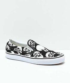 a2feb939f5f3 Vans Slip-On Skulls Black   White Skate Shoes