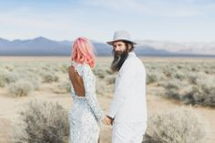 I want pink hair & that dress if I get married.... Gorgeous! Epic Las Vegas Elopement: Ainsley & Sebastien