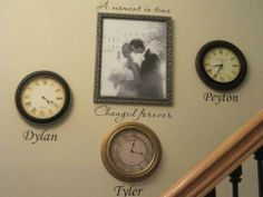 Stop the clock when your babies are born. A moment in time, changed forever. I love this idea for wall decor in our home! maybe add a picture in the clock of them at birth. A Moment In Time, Do It Yourself Home, My Dream Home, Home Projects, Just In Case, Diy Home Decor, Home Improvement, Sweet Home, Sweet Sweet