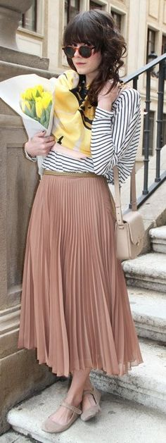 I am kind of loving this <3 conservative chic maxi + stripe shirt, but I would do VERY different shoes