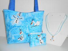 KIDS Handmade Fabric Blue Disney Frozen Oalf Handbag tote purse girls set #Handmade
