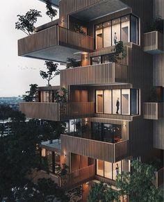 Large balconies with green details 🌿 The 'Apartment Tower'. Designed & visualized by Valérie Derome-Massé (Studio Abstract, from… Architecture Design, Architectural Design House Plans, Green Architecture, Facade Design, Residential Architecture, Exterior Design, Building Facade, Building Design, Design Hotel