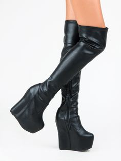 """Turn heads in these stunning JC boots - sharp but playful lines set the over-the-knee Daredevil boot apart from the rest Sky-high platform will add edge to any outfit - boots come in a luxe upper featuring a side zipper for easy on/off. Cushioned insole for all-day walking comfort. Heel measure approx 6"""" including 2.5"""" platform"""