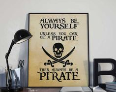 Pirate Art Print Poster Treasure Blackbeard by BlackSailsUK