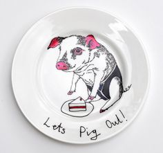 Side Plate  Hand Painted  Pig Plate by jimbobart on Etsy